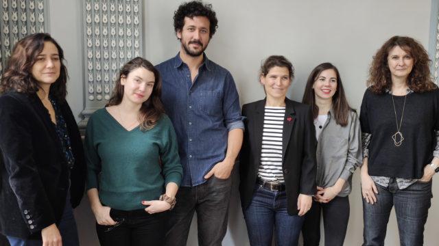 Le jury de la première édition : Cathy Verney, Éléonore Costes, Slimane-Baptiste Berhoun, Cécile Quéniart, Raphaël Rocher (représenté par Evelyne Quesnel) et Anne Bouisset © DR