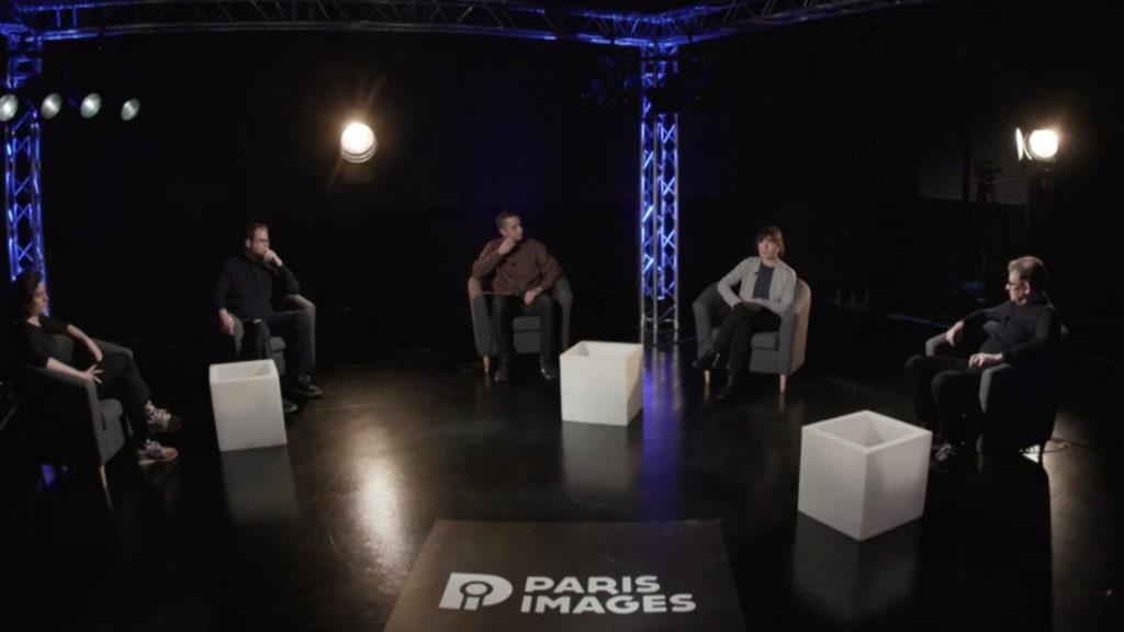 La conférence du PIDS Enjeux d'organisation du travail : bilan de l'appel à projets « production à distance » du CNC. De gauche à droite : Camille Lopato (Diversion cinema), Hervé Dupont (Fortiche Production), Thomas Grosperrin (CNC), Pauline Augrain (CNC) et Nicolas Naegelen (Polyson) © DR