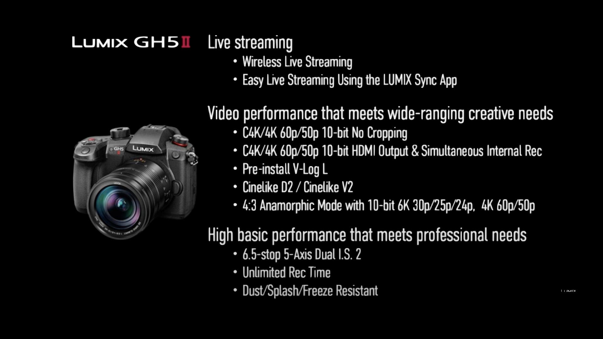 Les principales performances du nouveau Panasonic Lumix GH5 M2