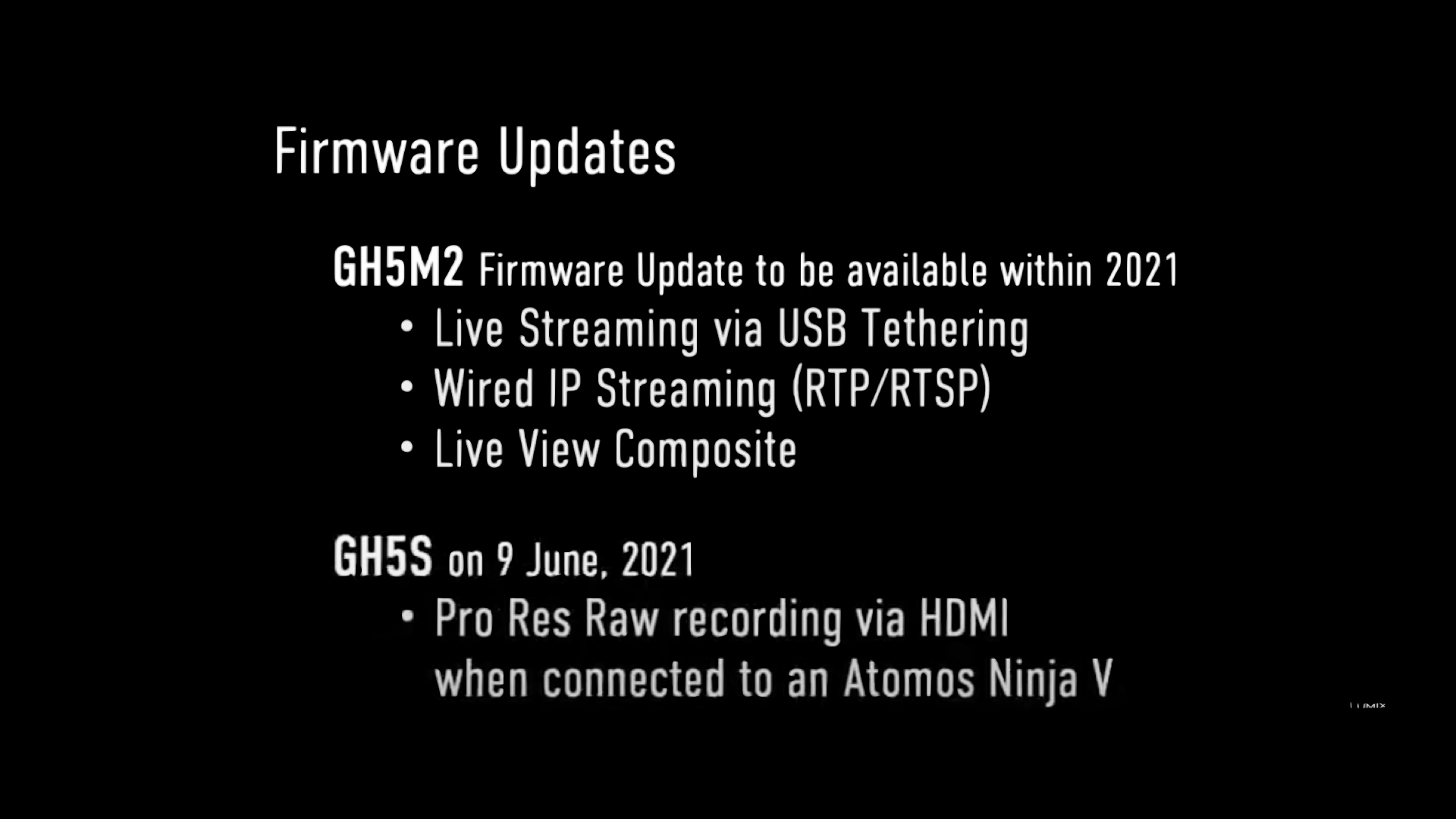 Les prochains updates firmware Panasonic Lumix -  GH5 M2